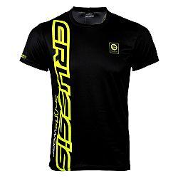 Crussis Pánské triko Crussis - krátký rukáv černá-fluo žlutá - S