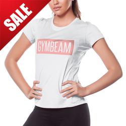 Dámske tričko Box Logo White Pink - GymBeam