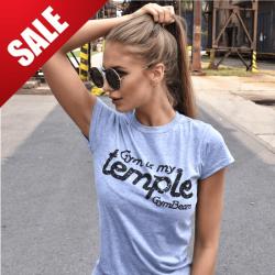 Dámské tričko Temple Grey Black - GymBeam